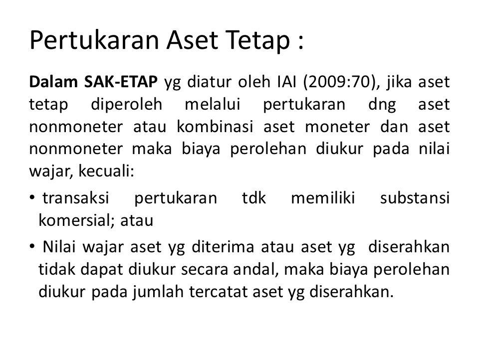 Pertukaran Aset Tetap : Dalam SAK-ETAP yg diatur oleh IAI (2009:70), jika aset tetap diperoleh melalui pertukaran dng aset nonmoneter atau kombinasi aset moneter dan aset nonmoneter maka biaya perolehan diukur pada nilai wajar, kecuali: transaksi pertukaran tdk memiliki substansi komersial; atau Nilai wajar aset yg diterima atau aset yg diserahkan tidak dapat diukur secara andal, maka biaya perolehan diukur pada jumlah tercatat aset yg diserahkan.