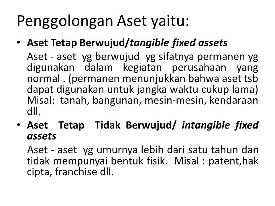 Penggolongan Aset yaitu: Aset Tetap Berwujud/tangible fixed assets Aset - aset yg berwujud yg sifatnya permanen yg digunakan dalam kegiatan perusahaan yang normal.
