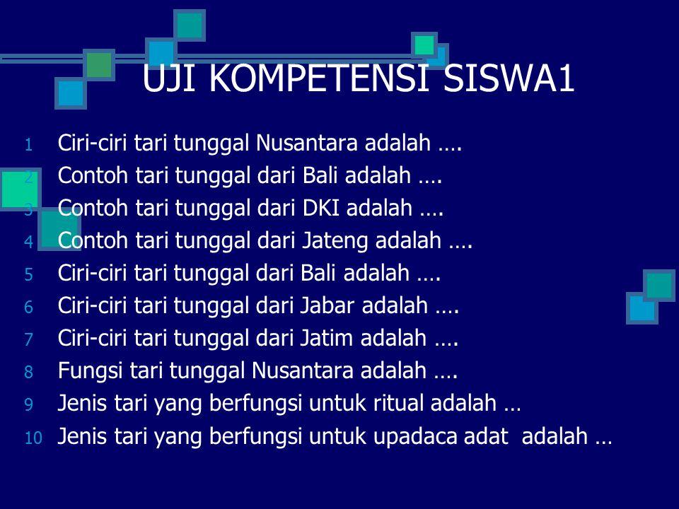 UJI KOMPETENSI SISWA1 1 Ciri-ciri tari tunggal Nusantara adalah …. 2 Contoh tari tunggal dari Bali adalah …. 3 Contoh tari tunggal dari DKI adalah ….