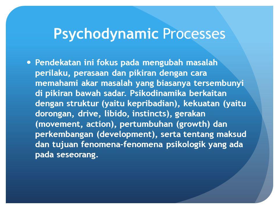 Psychodynamic Processes Pendekatan ini fokus pada mengubah masalah perilaku, perasaan dan pikiran dengan cara memahami akar masalah yang biasanya tersembunyi di pikiran bawah sadar.