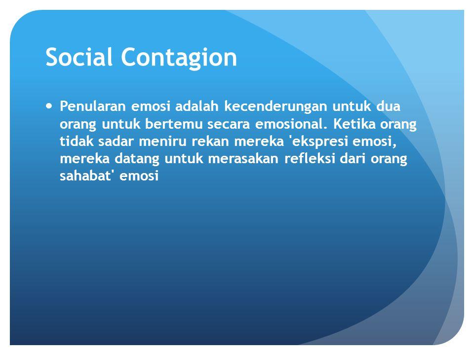 Social Contagion Penularan emosi adalah kecenderungan untuk dua orang untuk bertemu secara emosional. Ketika orang tidak sadar meniru rekan mereka 'ek