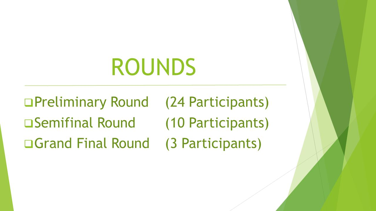 ROUNDS  Preliminary Round (24 Participants)  Semifinal Round (10 Participants)  Grand Final Round(3 Participants)