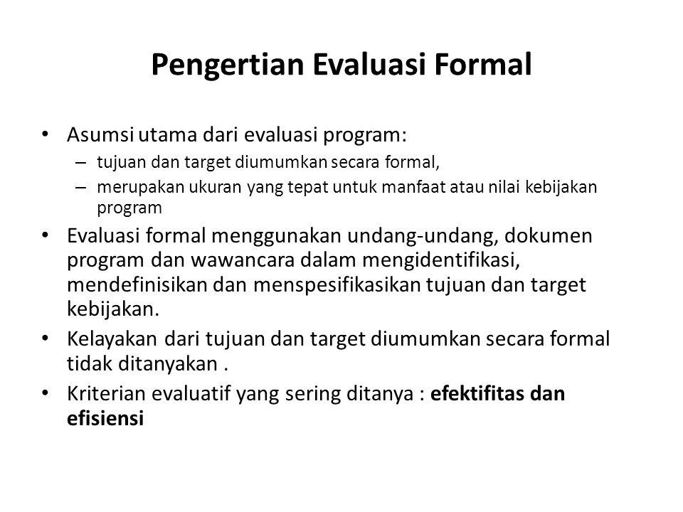 Pengertian Evaluasi Formal Asumsi utama dari evaluasi program: – tujuan dan target diumumkan secara formal, – merupakan ukuran yang tepat untuk manfaa