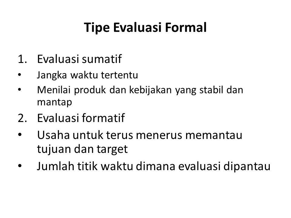Tipe Evaluasi Formal 1.Evaluasi sumatif Jangka waktu tertentu Menilai produk dan kebijakan yang stabil dan mantap 2.Evaluasi formatif Usaha untuk teru