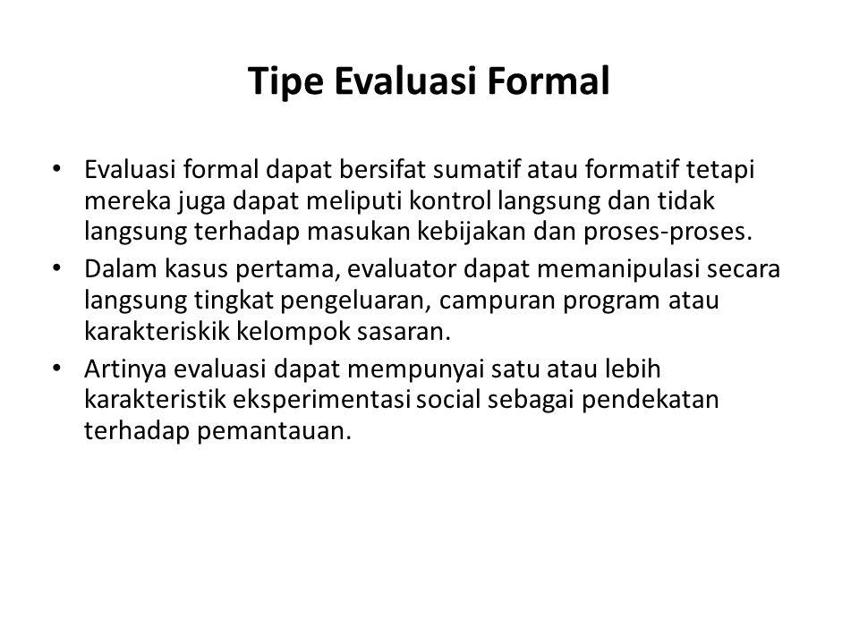 Tipe Evaluasi Formal Evaluasi formal dapat bersifat sumatif atau formatif tetapi mereka juga dapat meliputi kontrol langsung dan tidak langsung terhad