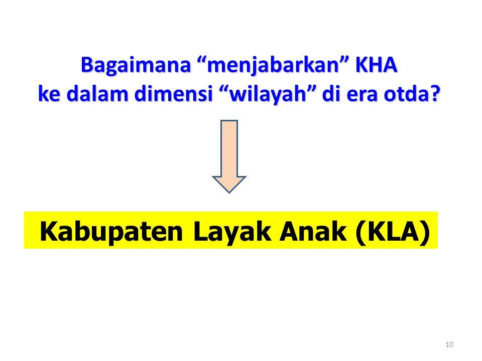 """Bagaimana """"menjabarkan"""" KHA ke dalam dimensi """"wilayah"""" di era otda? 10 Kabupaten Layak Anak (KLA)"""