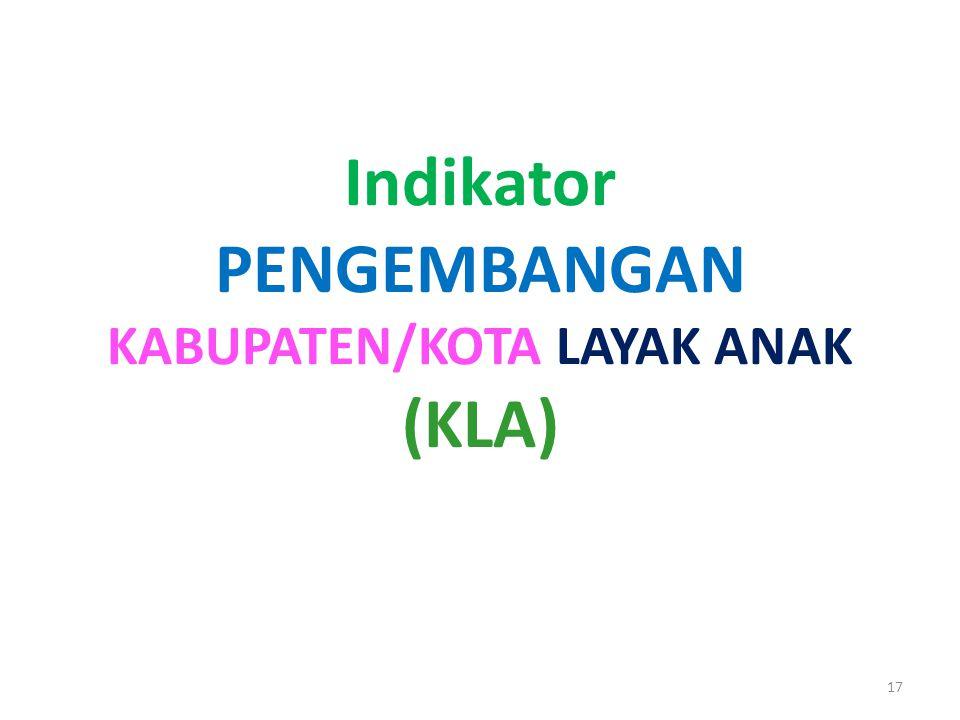 Indikator PENGEMBANGAN KABUPATEN/KOTA LAYAK ANAK (KLA) 17