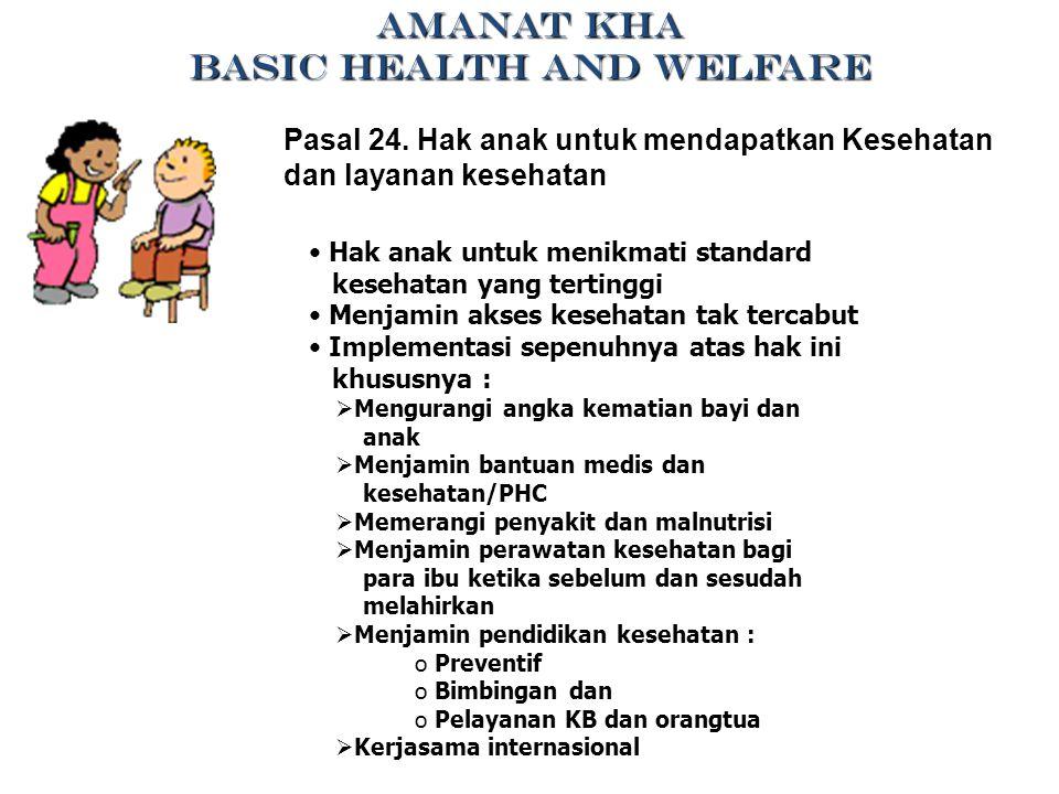 Pasal 24. Hak anak untuk mendapatkan Kesehatan dan layanan kesehatan Hak anak untuk menikmati standard kesehatan yang tertinggi Menjamin akses kesehat