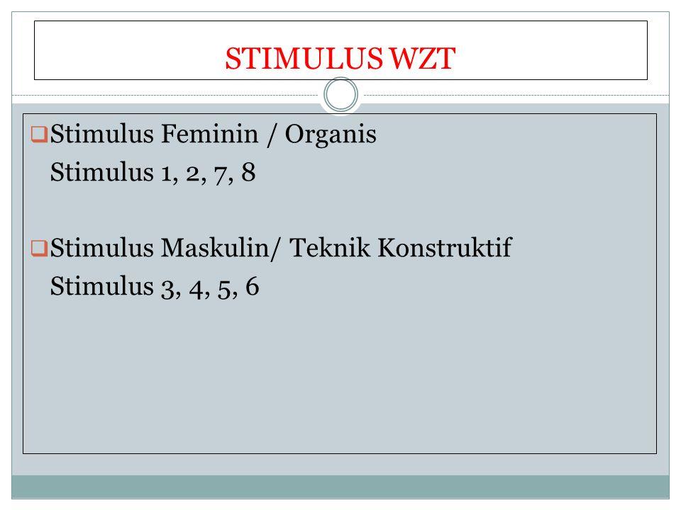 STIMULUS WZT  Stimulus Feminin / Organis Stimulus 1, 2, 7, 8  Stimulus Maskulin/ Teknik Konstruktif Stimulus 3, 4, 5, 6
