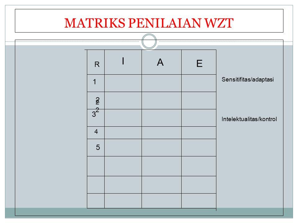 MATRIKS PENILAIAN WZT R I A E 1 3 2 2 4 5 Sensitifitas/adaptasi Intelektualitas/kontrol