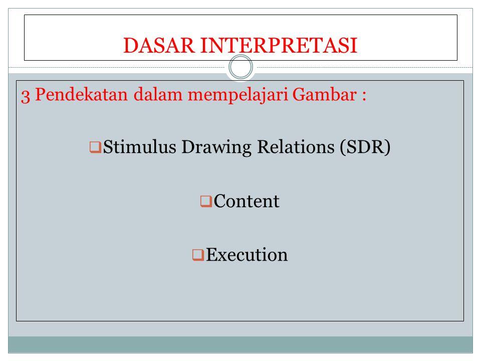 DASAR INTERPRETASI 3 Pendekatan dalam mempelajari Gambar :  Stimulus Drawing Relations (SDR)  Content  Execution