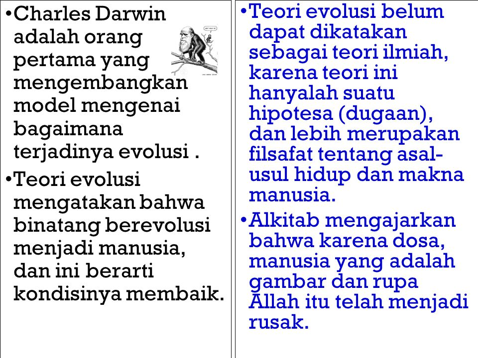 Charles Darwin adalah orang pertama yang mengembangkan model mengenai bagaimana terjadinya evolusi. Teori evolusi mengatakan bahwa binatang berevolusi