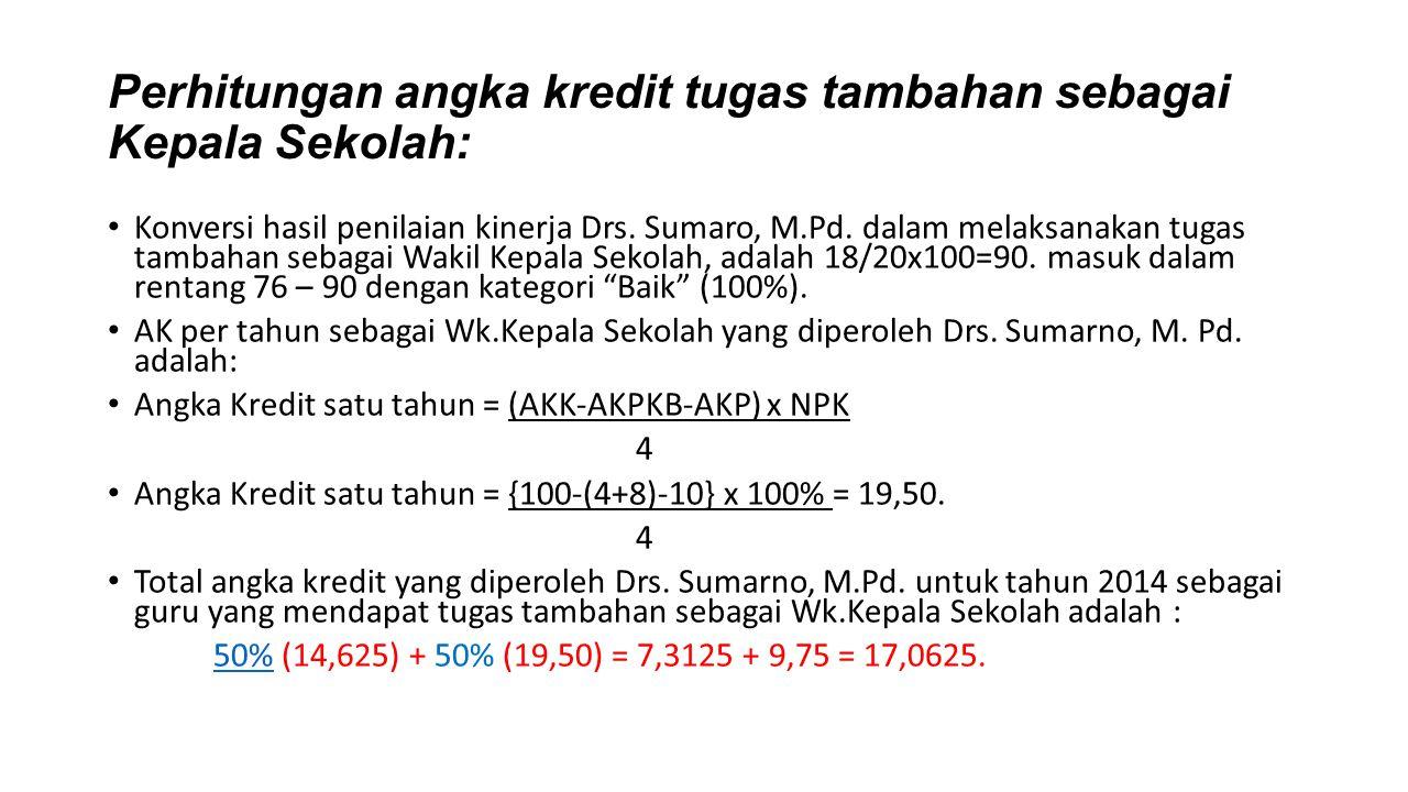 Perhitungan angka kredit tugas tambahan sebagai Kepala Sekolah: Konversi hasil penilaian kinerja Drs. Sumaro, M.Pd. dalam melaksanakan tugas tambahan