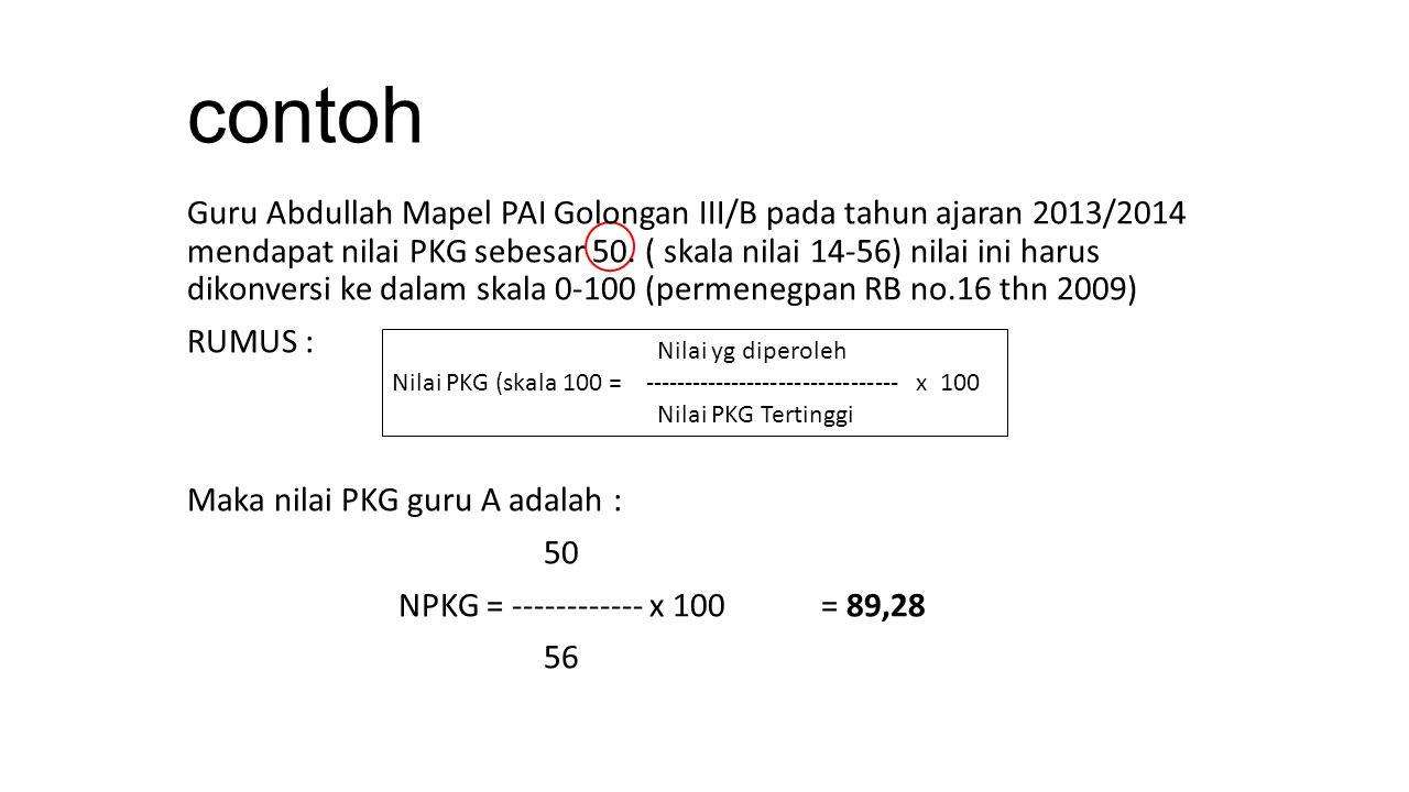 contoh Guru Abdullah Mapel PAI Golongan III/B pada tahun ajaran 2013/2014 mendapat nilai PKG sebesar 50. ( skala nilai 14-56) nilai ini harus dikonver