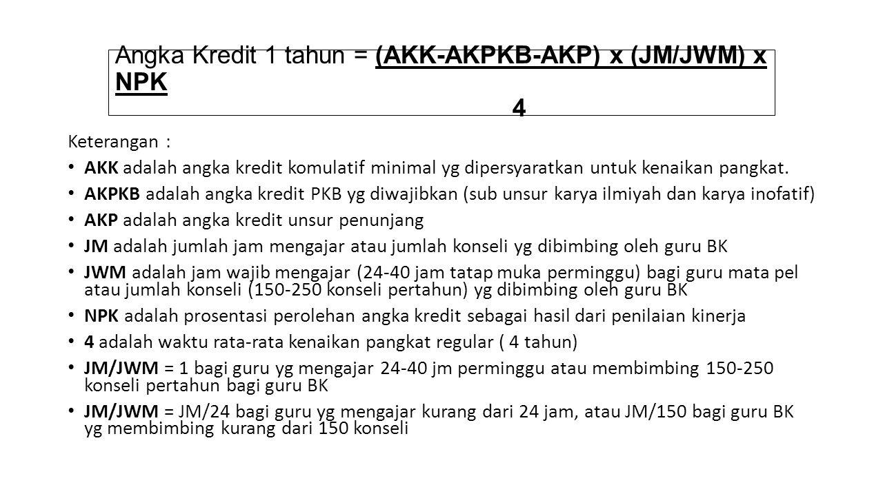 Keterangan : AKK adalah angka kredit komulatif minimal yg dipersyaratkan untuk kenaikan pangkat. AKPKB adalah angka kredit PKB yg diwajibkan (sub unsu