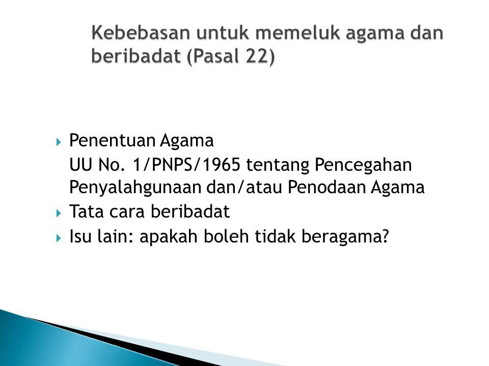 Kebebasan untuk memeluk agama dan beribadat (Pasal 22)  Penentuan Agama UU No. 1/PNPS/1965 tentang Pencegahan Penyalahgunaan dan/atau Penodaan Agama