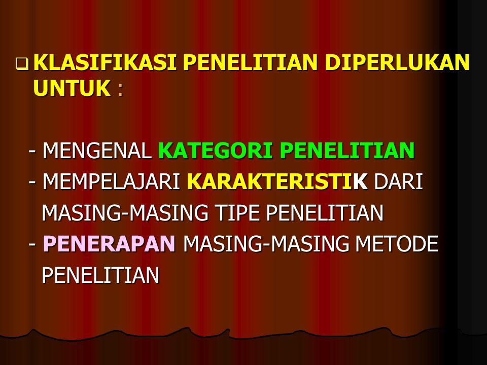  KLASIFIKASI PENELITIAN DIPERLUKAN UNTUK : - MENGENAL KATEGORI PENELITIAN - MENGENAL KATEGORI PENELITIAN - MEMPELAJARI KARAKTERISTIK DARI - MEMPELAJA