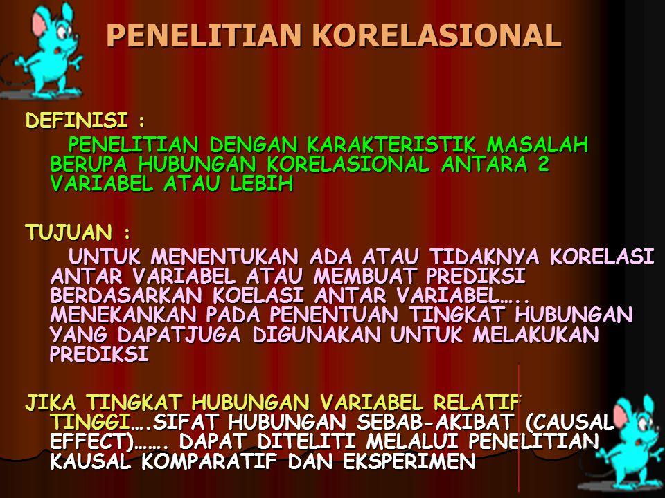 PENELITIAN KORELASIONAL DEFINISI : PENELITIAN DENGAN KARAKTERISTIK MASALAH BERUPA HUBUNGAN KORELASIONAL ANTARA 2 VARIABEL ATAU LEBIH PENELITIAN DENGAN
