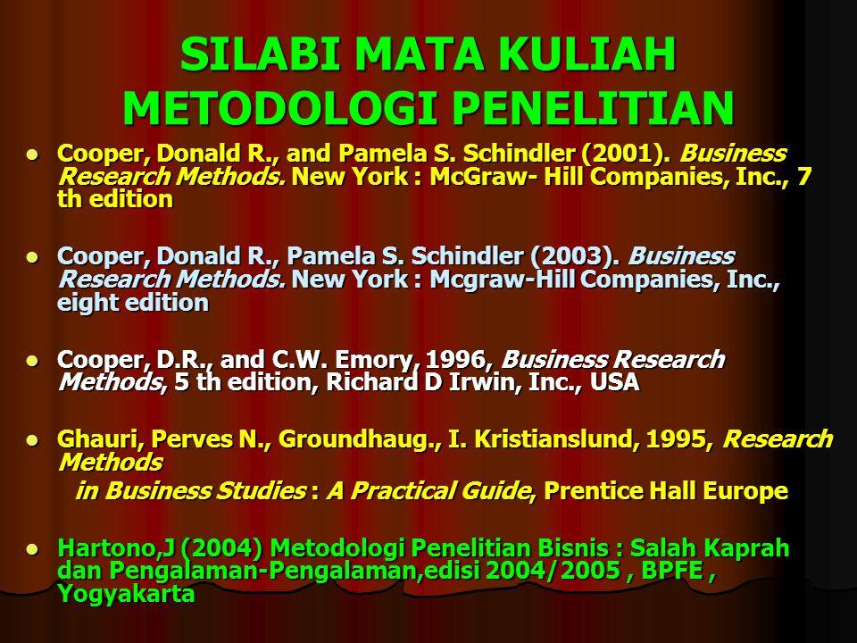 SILABI MATA KULIAH METODOLOGI PENELITIAN Cooper, Donald R., and Pamela S. Schindler (2001). Business Research Methods. New York : McGraw- Hill Compani
