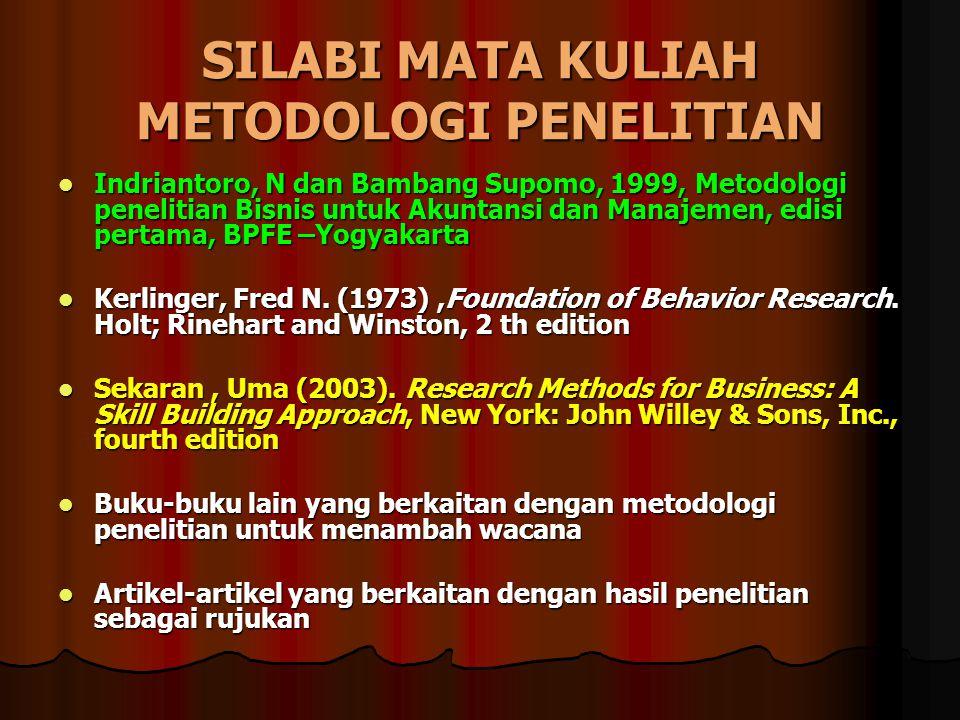 SILABI MATA KULIAH METODOLOGI PENELITIAN Indriantoro, N dan Bambang Supomo, 1999, Metodologi penelitian Bisnis untuk Akuntansi dan Manajemen, edisi pe