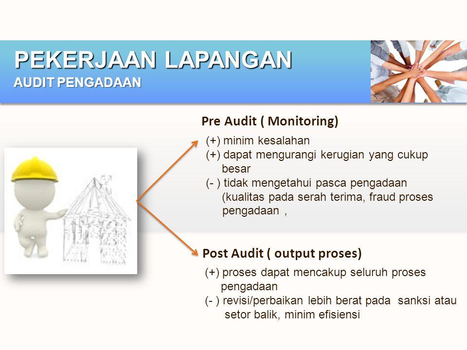 PEKERJAAN LAPANGAN AUDIT PENGADAAN Pre Audit ( Monitoring) (+) minim kesalahan (+) dapat mengurangi kerugian yang cukup besar (- ) tidak mengetahui pa