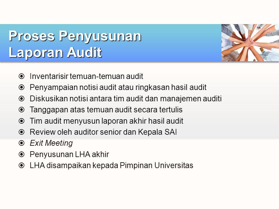  Inventarisir temuan-temuan audit  Penyampaian notisi audit atau ringkasan hasil audit  Diskusikan notisi antara tim audit dan manajemen auditi  T