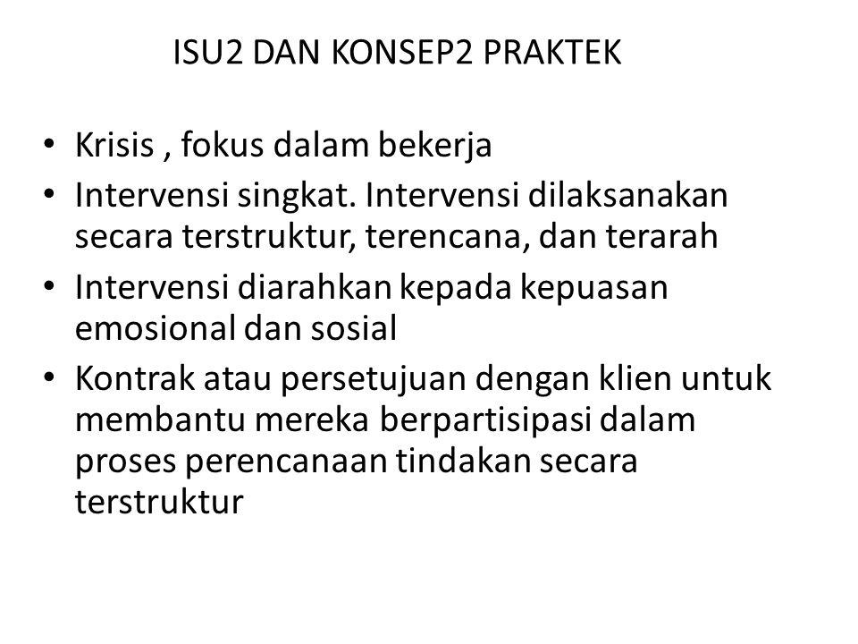 ISU2 DAN KONSEP2 PRAKTEK Krisis, fokus dalam bekerja Intervensi singkat.