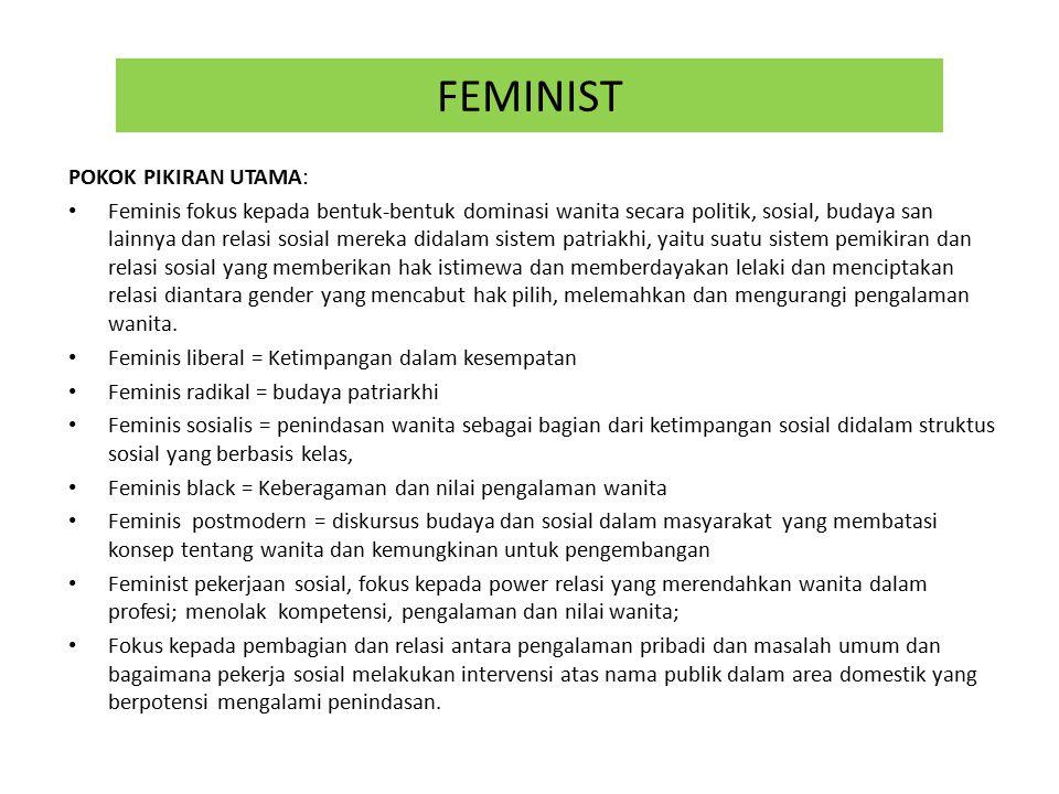 FEMINIST POKOK PIKIRAN UTAMA: Feminis fokus kepada bentuk-bentuk dominasi wanita secara politik, sosial, budaya san lainnya dan relasi sosial mereka didalam sistem patriakhi, yaitu suatu sistem pemikiran dan relasi sosial yang memberikan hak istimewa dan memberdayakan lelaki dan menciptakan relasi diantara gender yang mencabut hak pilih, melemahkan dan mengurangi pengalaman wanita.