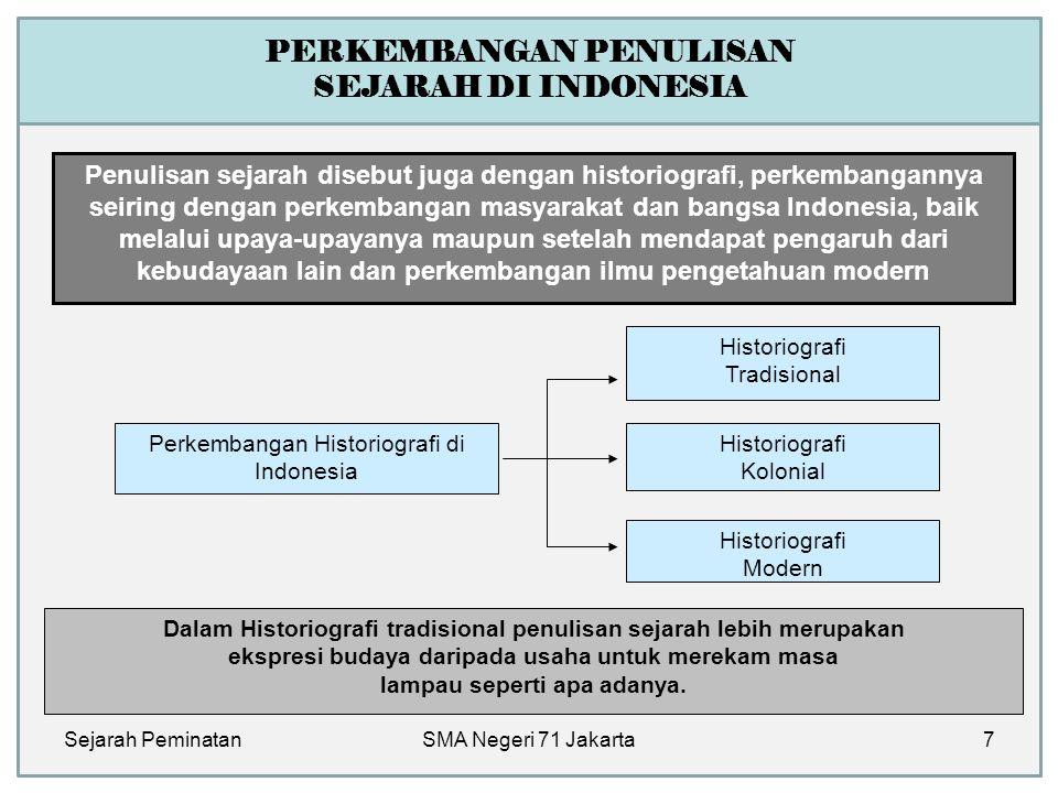 PERKEMBANGAN PENULISAN SEJARAH DI INDONESIA Penulisan sejarah disebut juga dengan historiografi, perkembangannya seiring dengan perkembangan masyaraka