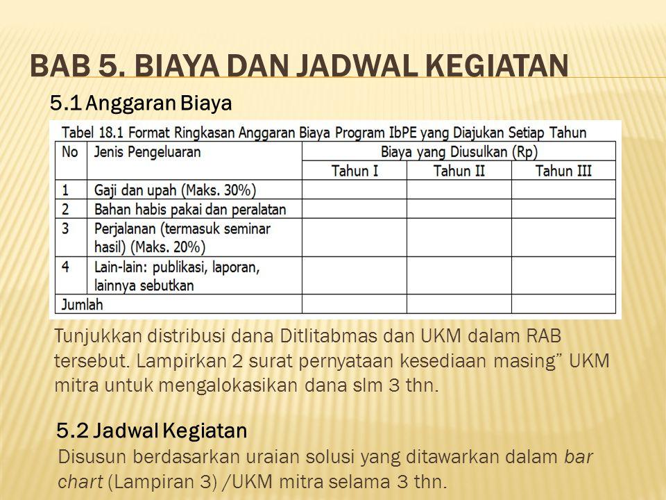BAB 5. BIAYA DAN JADWAL KEGIATAN 5.1 Anggaran Biaya 5.2 Jadwal Kegiatan Disusun berdasarkan uraian solusi yang ditawarkan dalam bar chart (Lampiran 3)