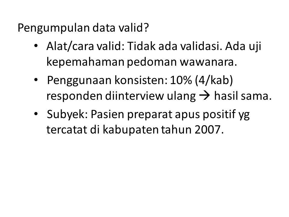 Pengumpulan data valid. Alat/cara valid: Tidak ada validasi.