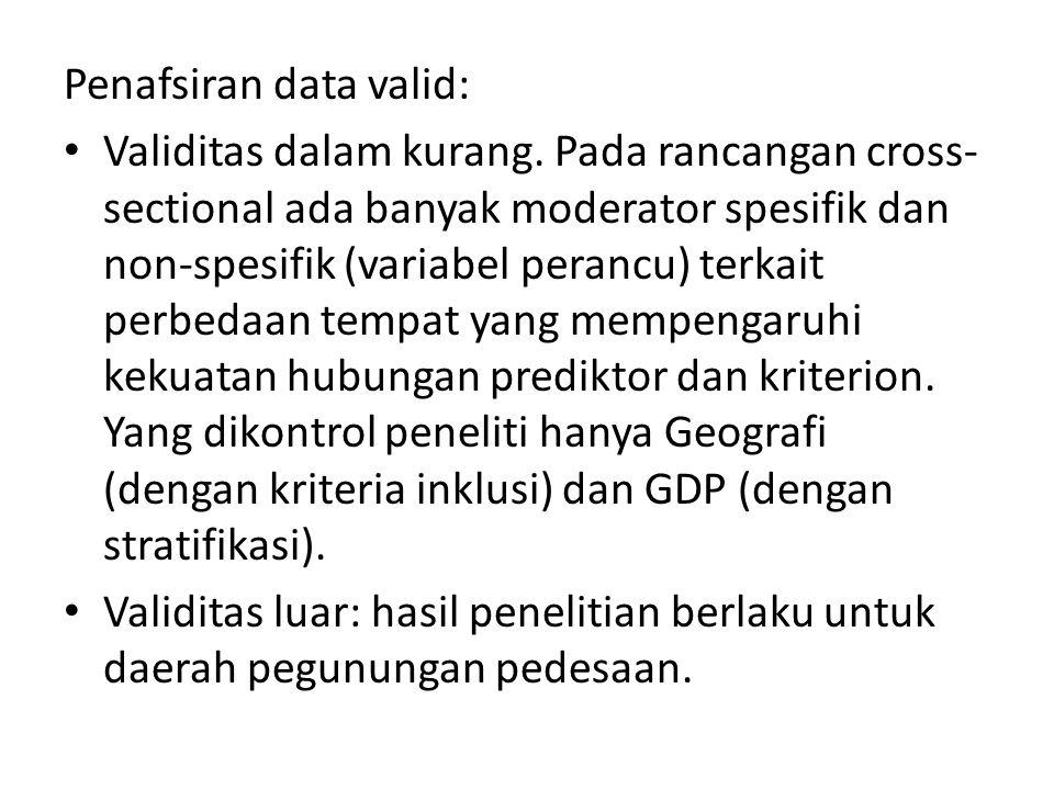 Penafsiran data valid: Validitas dalam kurang.