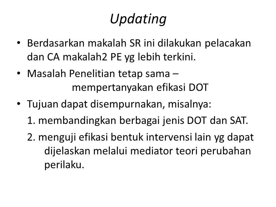Updating Berdasarkan makalah SR ini dilakukan pelacakan dan CA makalah2 PE yg lebih terkini.