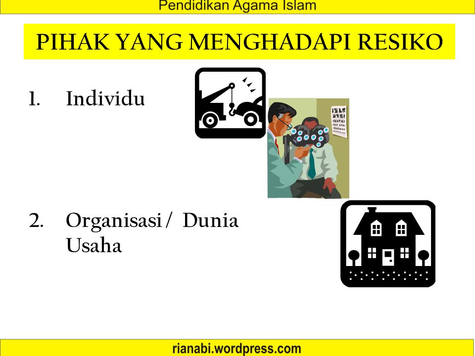 PIHAK YANG MENGHADAPI RESIKO 1.Individu 2.Organisasi / Dunia Usaha