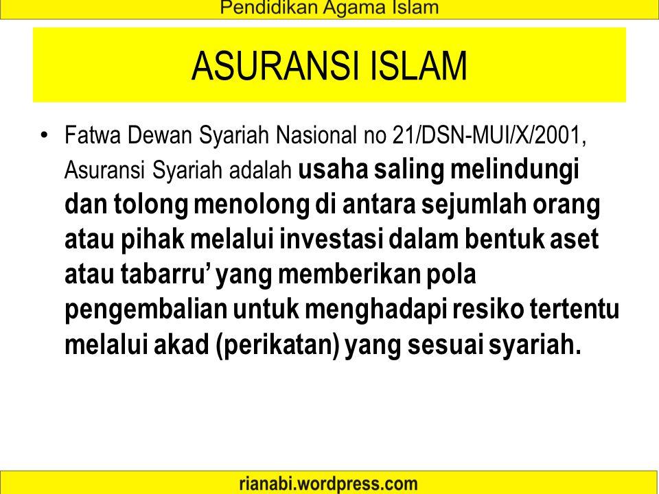 Asuransi Islam di Indonesia Usaha saling melindungi dan saling menolong diantara sejumlah orang atau pihak untuk menghadapi risiko tertentu melalui ak