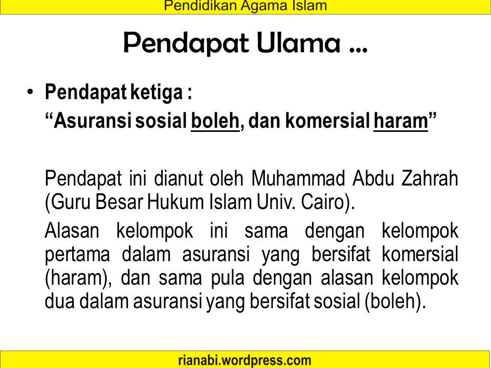 """Pendapat Ulama … Pendapat kedua : """"MEMBOLEHKAN"""" Pendapat kedua ini dikemukakan oleh Abd. Wahab Khalaf, Mustafa Akhmad Zarqa (Guru Besar Hukum Islam Fa"""