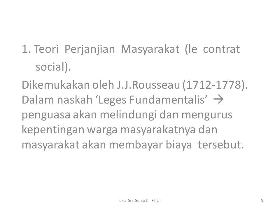 1. Teori Perjanjian Masyarakat (le contrat social). Dikemukakan oleh J.J.Rousseau (1712-1778). Dalam naskah 'Leges Fundamentalis'  penguasa akan meli