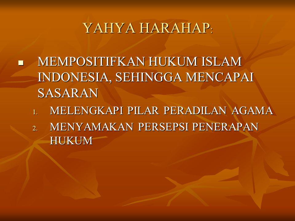 YAHYA HARAHAP : MEMPOSITIFKAN HUKUM ISLAM INDONESIA, SEHINGGA MENCAPAI SASARAN MEMPOSITIFKAN HUKUM ISLAM INDONESIA, SEHINGGA MENCAPAI SASARAN 1. MELEN