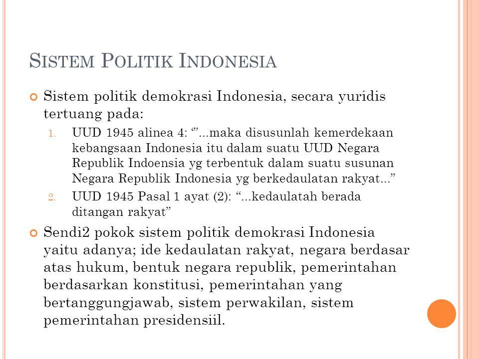 S ISTEM P OLITIK I NDONESIA Sistem politik demokrasi Indonesia, secara yuridis tertuang pada: 1.