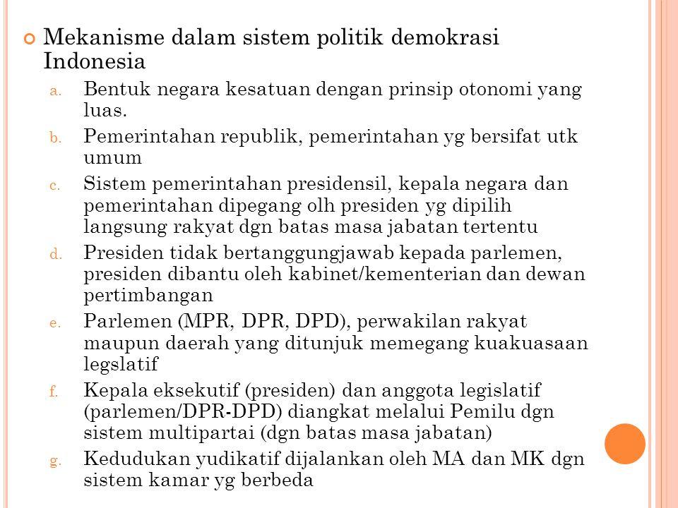 Mekanisme dalam sistem politik demokrasi Indonesia a.