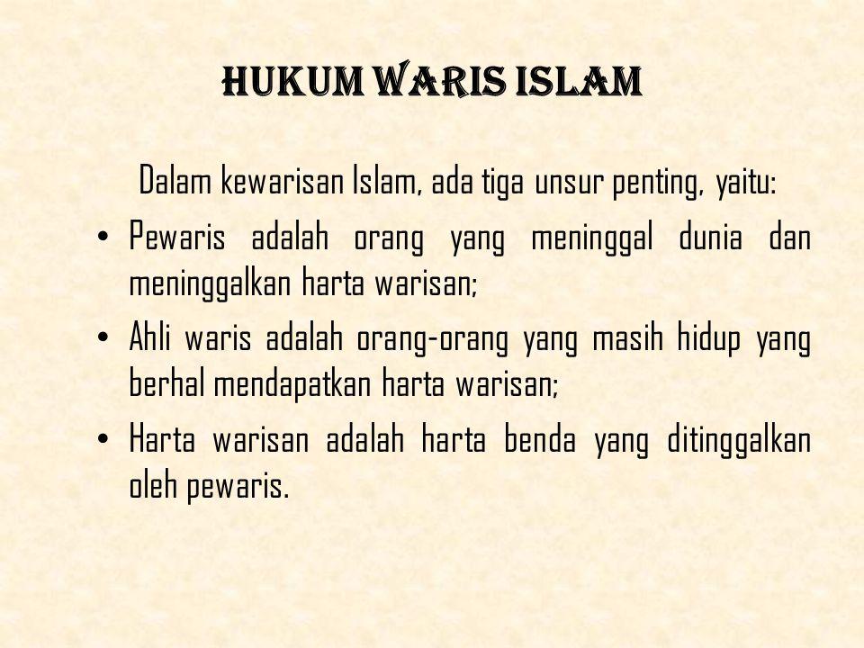 Hukum Waris Islam Dalam kewarisan Islam, ada tiga unsur penting, yaitu: Pewaris adalah orang yang meninggal dunia dan meninggalkan harta warisan; Ahli waris adalah orang-orang yang masih hidup yang berhal mendapatkan harta warisan; Harta warisan adalah harta benda yang ditinggalkan oleh pewaris.