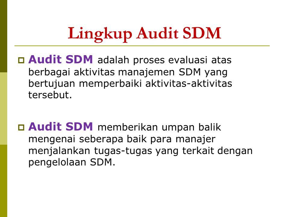 Lingkup Audit SDM  Audit SDM adalah proses evaluasi atas berbagai aktivitas manajemen SDM yang bertujuan memperbaiki aktivitas-aktivitas tersebut. 
