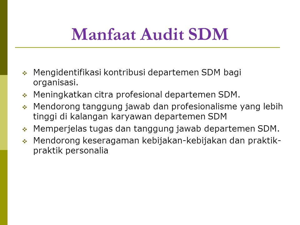Manfaat Audit SDM  Mengidentifikasi kontribusi departemen SDM bagi organisasi.  Meningkatkan citra profesional departemen SDM.  Mendorong tanggung