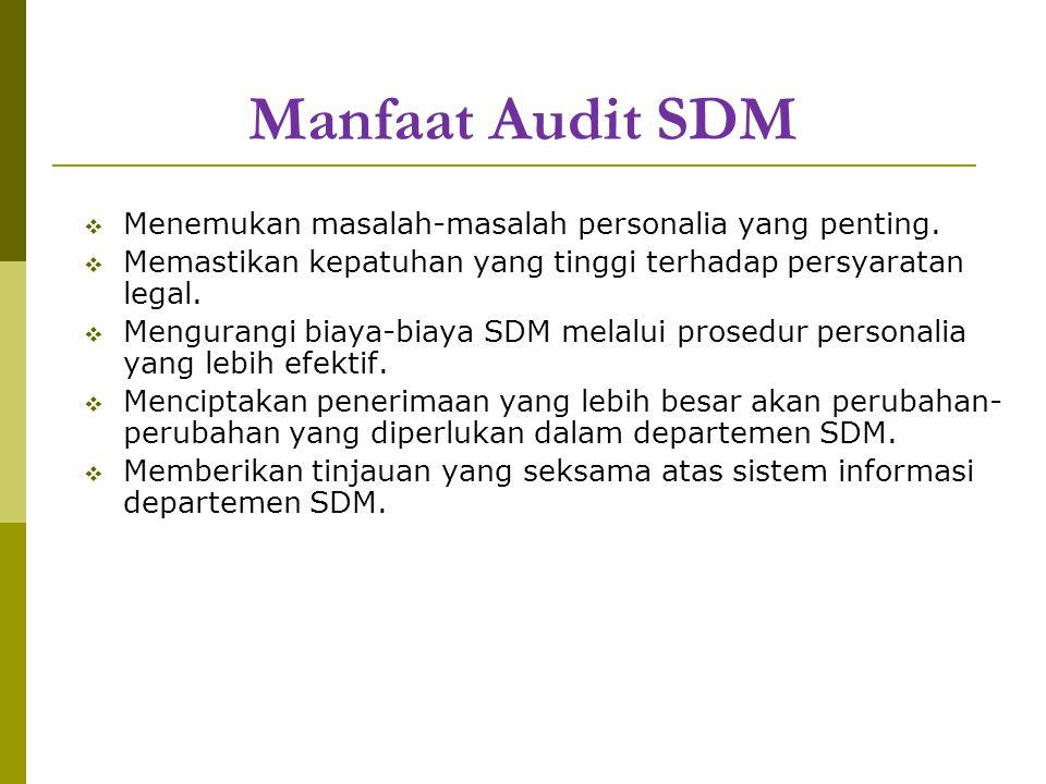 Manfaat Audit SDM  Menemukan masalah-masalah personalia yang penting.  Memastikan kepatuhan yang tinggi terhadap persyaratan legal.  Mengurangi bia