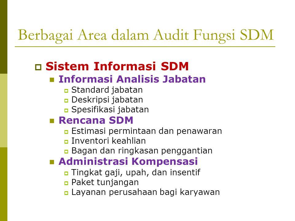 Berbagai Area dalam Audit Fungsi SDM  Penyediaan dan Pengembangan Karyawan Rekrutmen  Sumber rekrutmen  Ketersediaan calon karyawan  Lamaran kerja Seleksi  Rasio seleksi  Prosedur seleksi  Kesetaraan kesempatan