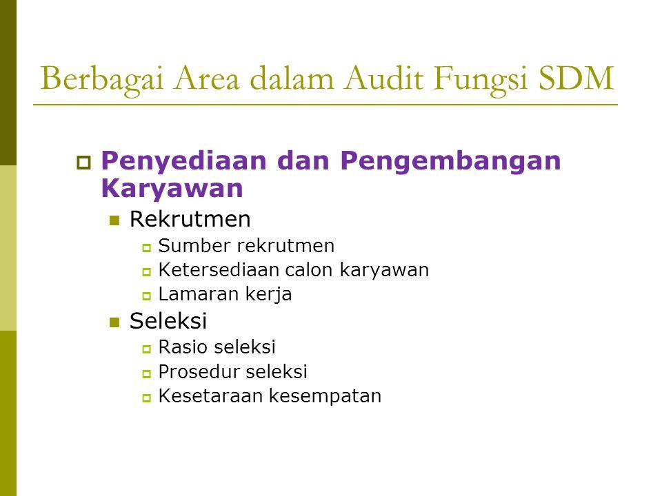 Berbagai Area dalam Audit Fungsi SDM  Penyediaan dan Pengembangan Karyawan Rekrutmen  Sumber rekrutmen  Ketersediaan calon karyawan  Lamaran kerja