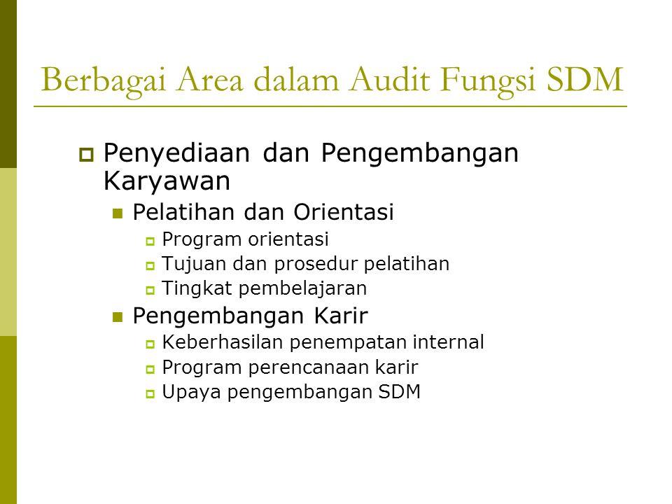 Berbagai Area dalam Audit Fungsi SDM  Kontrol dan Evaluasi Organisasi Penilaian Kinerja  Standard dan ukuran kinerja  Teknik penilaian kinerja  Wawancara evaluasi Hubungan Karyawan-Manajemen  Kepatuhan hukum  Hak-hak manajemen  Penyelesaian perselisihan