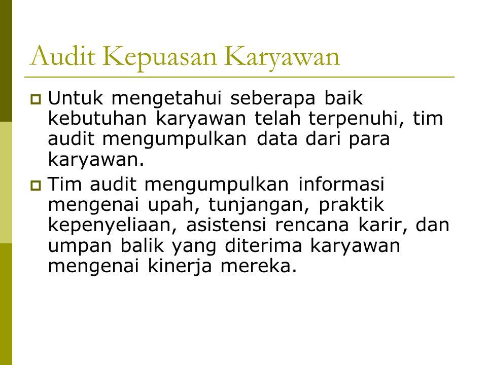 Audit Kepuasan Karyawan  Untuk mengetahui seberapa baik kebutuhan karyawan telah terpenuhi, tim audit mengumpulkan data dari para karyawan.  Tim aud
