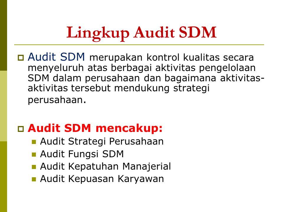 Lingkup Audit SDM  Audit SDM merupakan kontrol kualitas secara menyeluruh atas berbagai aktivitas pengelolaan SDM dalam perusahaan dan bagaimana akti