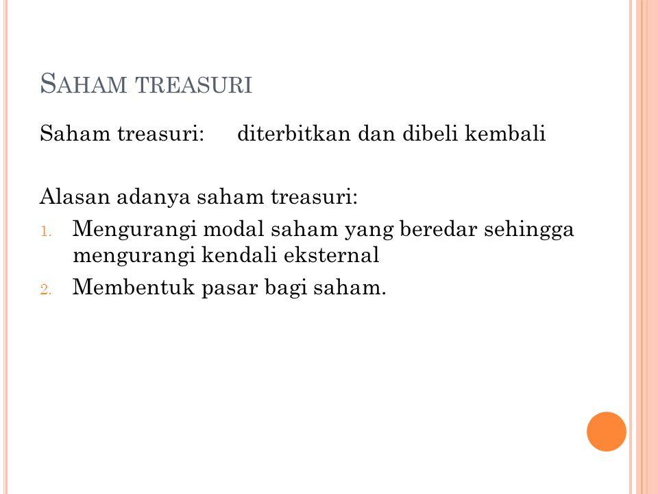S AHAM TREASURI Saham treasuri:diterbitkan dan dibeli kembali Alasan adanya saham treasuri: 1.